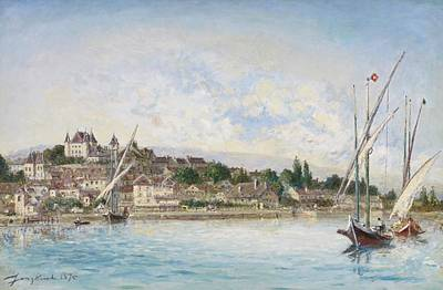 Geneva Painting - Landscape From Lake Leman To Nyon by Johan Barthold Jongkind