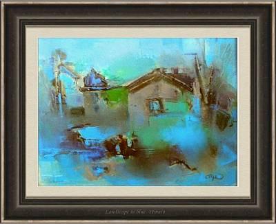 Winter Scene Painting - Landscape In Blue by Pemaro