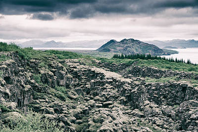 Landscape In Iceland - Lava Field And Lake Art Print