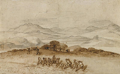 Wash Drawing - Landscape In Latium With Farm Laborers Claude Lorrain by Litz Collection