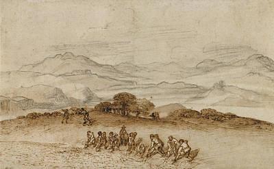 Landscape In Latium With Farm Laborers Claude Lorrain Art Print