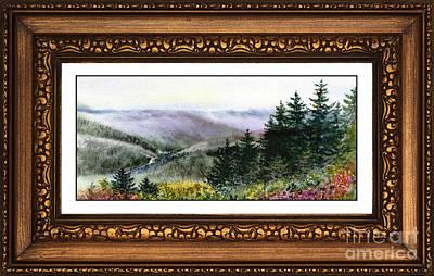 Redwoods Painting - Landscape In Vintage Frame by Irina Sztukowski