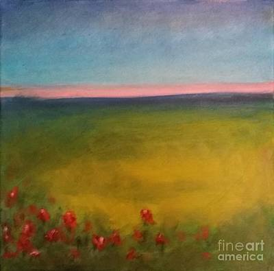 Landscape In Violet With Red Flowers Art Print by Piotr Wolodkowicz