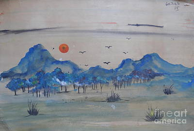 Painting - Landscape In Watercolour 2 by Padamvir Singh