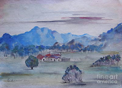 Painting - Landscape In Watercolour by Padamvir Singh