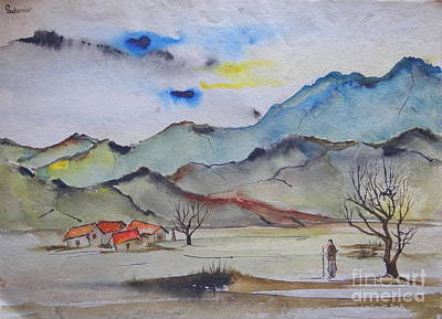Painting - Landscape In Watercolours 5 by Padamvir Singh