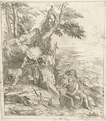 Hourglass Drawing - Landscape In Which Hieronymus Is Reading by Cornelis Cort And Remondini