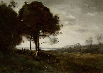 Field. Cloud Painting - Landscape by Jean Baptiste Camille Corot