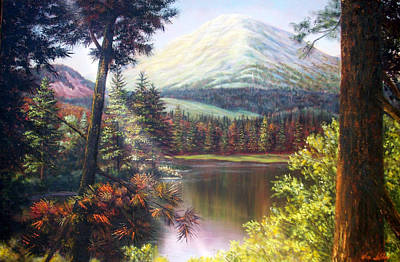 Landscape-lake And Trees Art Print by Loxi Sibley