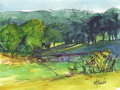 Landscape Lakeway Texas Watercolor Painting By Kmcelwaine Art Print