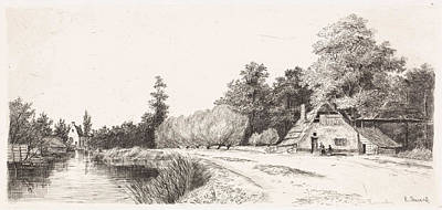 Solitary Drawing - Landscape Near Baambrugge, The Netherlands by Elias Stark