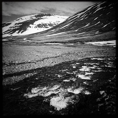 Landscape North Iceland Black And White Art Print