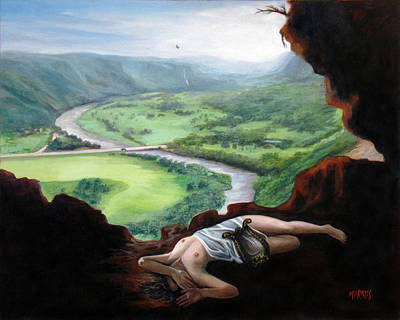 Landscape Of Cueva Ventana With Eurydice Abandoned By Orpheus Transformed Into A Bird Art Print by Ben  Morales-Correa