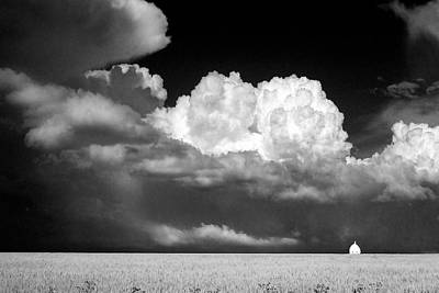 Landscape Of Dramatic Cloud And Lone White Barn  Art Print by Donald  Erickson