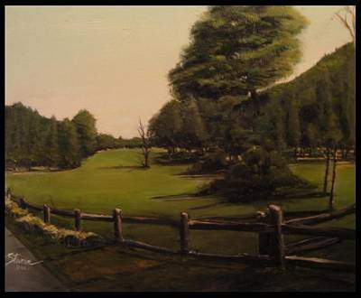Collectible Mixed Media - Landscape Of Duxbury Golf Course - Image Of Original Oil Painting by Diane Strain