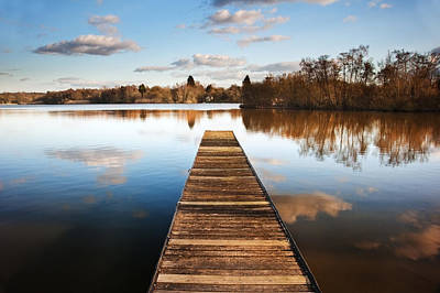 Wooden Platform Photograph - Landscape Of Fishing Jetty On Calm Lake At Sunset With Reflectio by Matthew Gibson