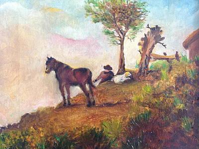 Landscape On A Ridge Art Print by Egidio Graziani