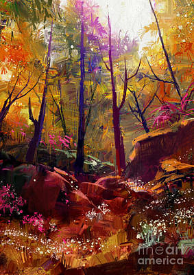 Vivid Wall Art - Digital Art - Landscape Painting Of Beautiful Autumn by Tithi Luadthong
