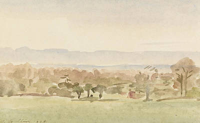 Landscape Drawing - Landscape, Possibly Framlingham, Suffolk by Philip Wilson Steer