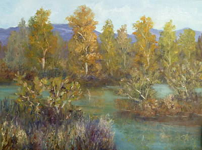Landscape River And Trees Paintings Art Print