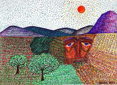 Rural Scenes Drawing - Landscape by Sarah Loft