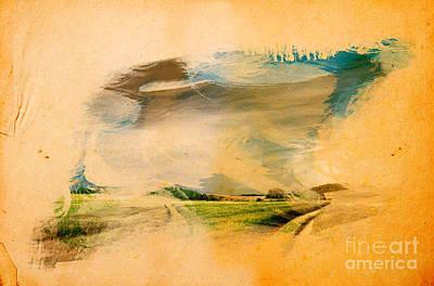 Grungy Photograph - Landscape Splashed On Old Grunge Paper by Michal Bednarek
