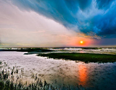 Art Print featuring the photograph Landscape-storm At Sea Sunset-rain Ripples-blue Clouds by Eszra