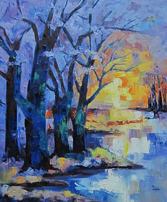 Landscape Sunset At The Lake  Art Print