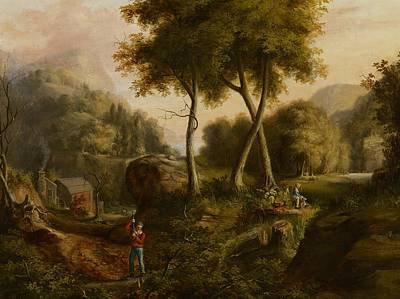 Barn Landscape Painting - Landscape by Thomas Cole