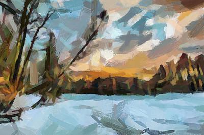 Digital Art - Landscape Winter by Yury Malkov
