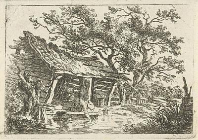 Old Barn Drawing - Landscape With A Barn, Print Maker François Joseph by Artokoloro