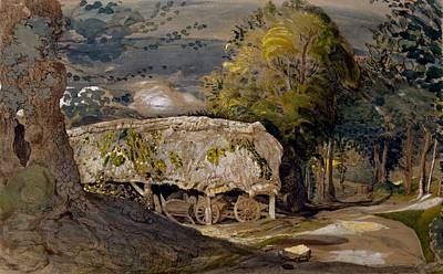 Barns Drawing - Landscape With A Barn, Shoreham, Kent by Samuel Palmer