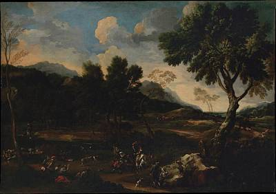 Landscape With A Battle Between Two Rams Art Print by Jan Miel