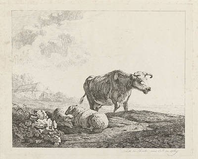Landscape With A Cow And Two Sheep, Print Maker Christiaan Art Print by Artokoloro