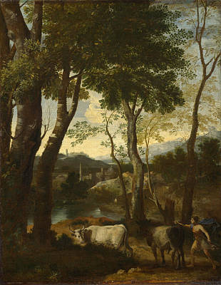 Painting - Landscape With A Cowherd by Gaspard Dughet