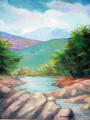Rill Painting - Landscape With A Creek by Sergey Bezhinets