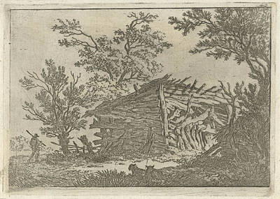 Dilapidated Drawing - Landscape With A Dilapidated Barn, François Joseph by Artokoloro
