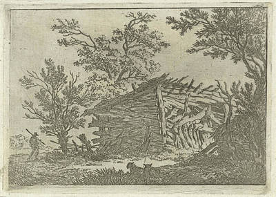 Dilapidated Drawing - Landscape With A Dilapidated Barn, François Joseph by Quint Lox
