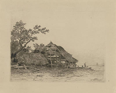 Shed Drawing - Landscape With A Dilapidated Shed, Remigius Adrianus Haanen by Remigius Adrianus Haanen