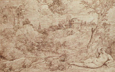 Fantasy Drawing - Landscape With A Dragon And A Nude Woman Sleeping by Titian