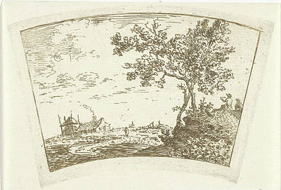 Solitary Drawing - Landscape With A Farm And A Haystack Left And Right Two by Cornelis Van Noorde