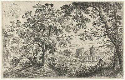 Angling Drawing - Landscape With A Fisherman, Cornelis Matthieu by Cornelis Matthieu