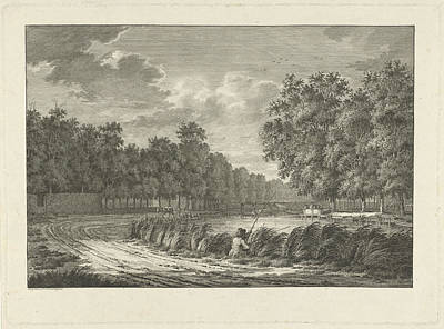 Angling Drawing - Landscape With A Fisherman On The Shore Of The River by Jan Evert Grave And Jan Evert Grave
