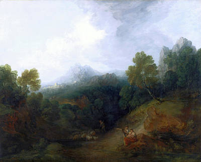 Landscape With A Flock Of Sheep Mountain Valley Print by Litz Collection
