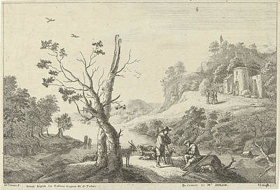 Landscape With A Flute Player And A Shepherd Art Print