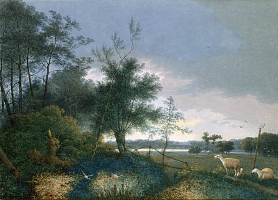 Wildlife Landscape Painting - Landscape With A Fox Chasing Geese by Joseph August Knip