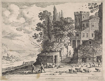 Italian Landscapes Drawing - Landscape With A House, Figures And Cattle by Willem Van Nieulandt Ii And Frans Van Den Wijngaerde And Antoine Bonenfant