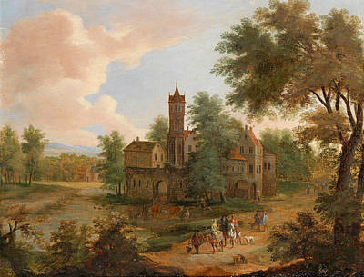 Hunting Party Painting - Landscape With A Hunting Party by Pieter Bout