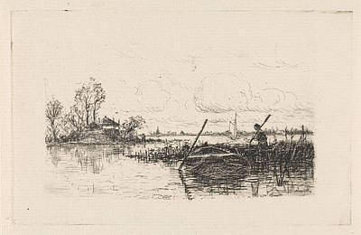 Stark Drawing - Landscape With A Man In A Rowboat, Print Maker Elias Stark by Elias Stark