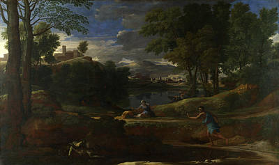 Landscape With A Man Killed By A Snake Art Print by Nicolas Poussin
